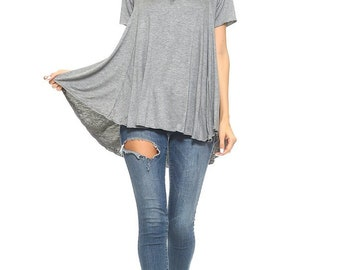 tunics, flowy shirt, plus size, gray tunic, flowy tunic, womens clothing, basic tunics, soft shirts, tunic tops, womens fashion