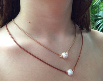Pearl Leather Necklace,Leather Pearl Necklace, Freshwater Pearl Necklace,Purity Necklace, 11-12mm Pearl, Gift, Girl Gift, Floating Pearl