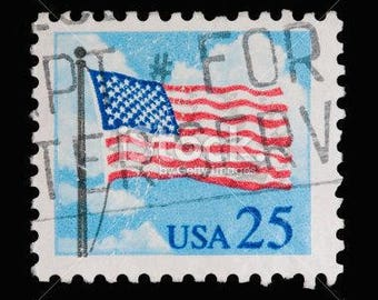 1988 Flag and Clouds Stamp, United States, Scott #2278, Lot of 25 canceled, Vintage