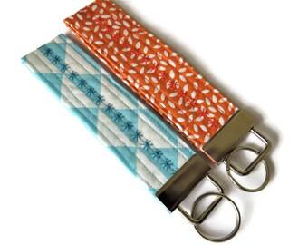 Key Ring - 2 x Wristlet Key Fob/Key Rings - Geometric Triangles Fabric Key Fobs - Key Ring - Fabric Wristlet Key Ring