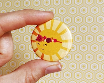 beautiful glowing sun goddess button // leslie knope pin// parks and recreation badge// best friend button// ann perkins pin
