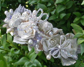 Bridal Floral Wreath with Dragonflies / Floral Bridal Comb with Dragonflies and Veil / Floral Bridal Headpiece and Veil
