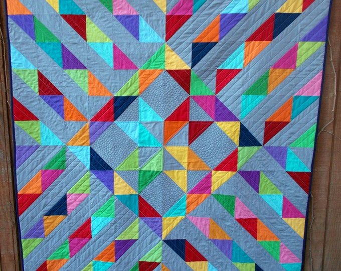 Sunshine on a Cloudy Day a pdf quilt pattern full of half square triangles