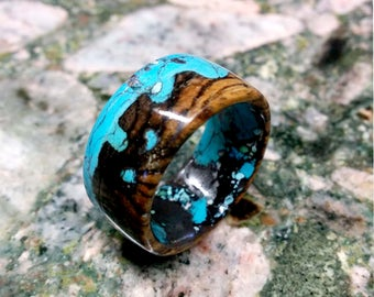 Marbled Bocote Wood Ring Band.  12mm Wide.