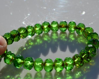 Emerald Green Picasso 8x6mm Faceted Czech Glass Rondelle Beads   25