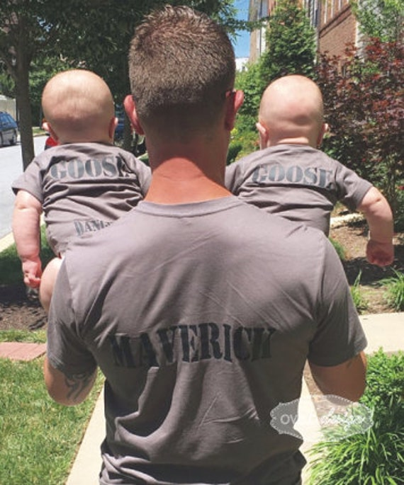 Daddy and kids Matching shirts Aviator Sunglasses on Front Maverick and Goose on Back Danger Zone on bum Perfect Fathers Day or New Dad Gift