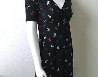 Vintage Women's 80's Esprit De Corps, Dress, Black, Short Sleeve (M)
