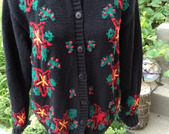 Vintage kitschy 80s Ugly Christmas Cardigan Sweater with poinsettias size large free domestic shipping