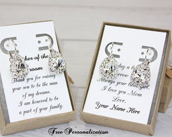 Mother of the Groom Gift Earrings Mother of the Bride Gift Swarovski Crystal Teardrop Earrings Free Personalization!!