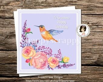 "Grandma Birthday Greeting Card ""Happy Birthday"""
