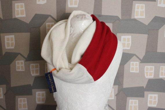 White/Red Wool Loop, Two Coloured Wool HERS Loop, 2 COLOURED Unisex Scarf/Loop