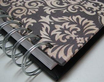 Journal - Blank Journal - Prayer Journal - Daily Journal - Lined Journal - Wire bound journal - Diary - Sketchbook - Notebook - Tan Damask