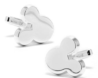 Disney Mickey Mouse Silhouette Silver Tone Cufflinks + Gift Box