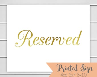 Reserved Foiled Sign, Gold Foiled Wedding Sign, Wedding Table Sign, REAL Foil (S002-CL-F)