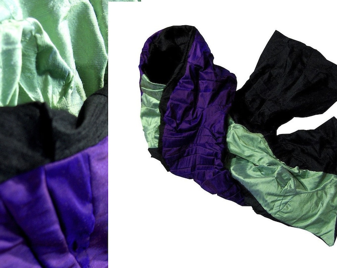 scarf shawl stole patchwork raw silk VIOLET MINT  Scarf Amorph upcycling
