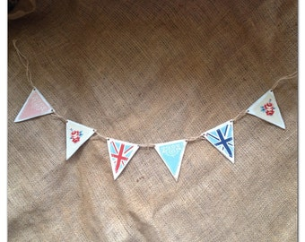 British Tea Party Bunting. Hand Painted Shabby Chic Wooden Bunting.