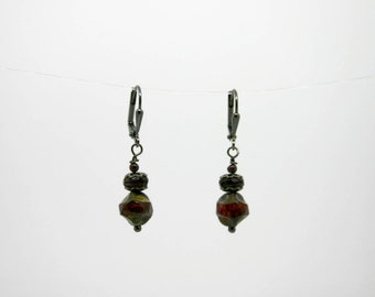 Fire Polished Czech Glass Bead Earrings