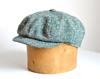 Newsboy Hat - Men's Green Tweed Newsboy Cap - Made to Order