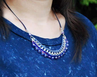 Chunky chain necklace, Statement jewelry, Ethnic fiber jewelry, Navy pendant, Fuchsia necklace, Woven bib, Eclectic necklace, Boho handmade