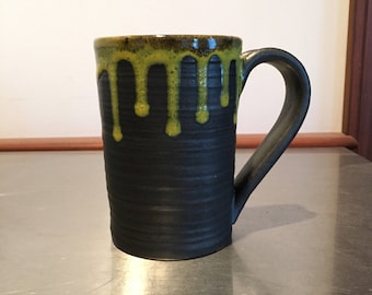 Small Ceramic Mug with Yellow Drizzle
