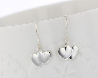Double Heart stamped sterling silver earrings. Dangle, drop earrings, Sterling ear wires, Heart Earrings, Love, Dangles, Heart