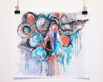 Storm. Original Abstract Acrylic Painting. Blue, grey and bronze painting. Modern art, Unstretched Canvas