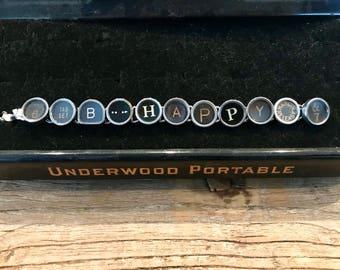 BE HAPPY Vintage Typewriter Keys Bracelet