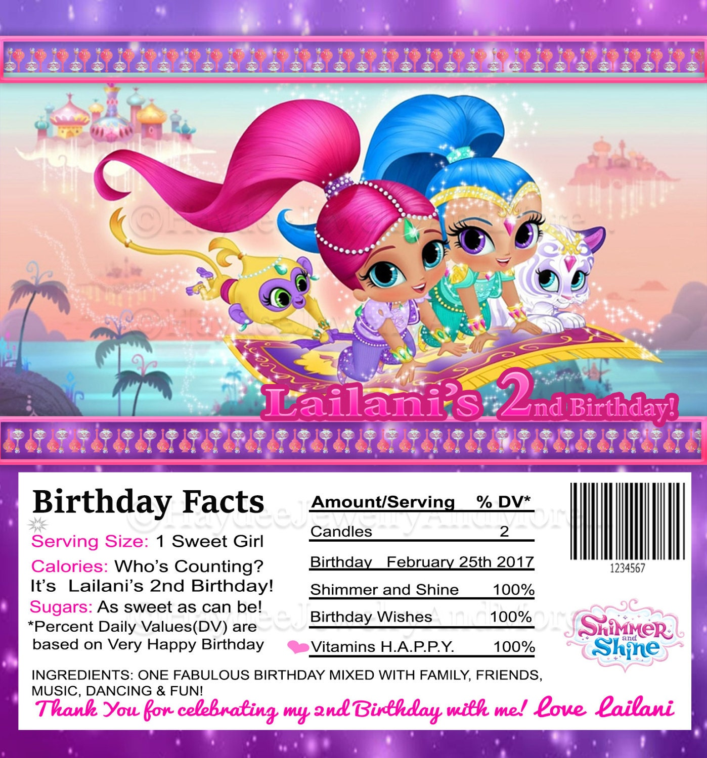 Shimmer and Shine Theme Hershey Bar Wrappers Birthday Girl