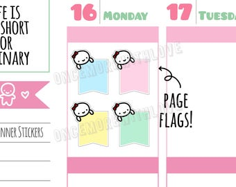Munchkins -  Vertical Pastel Peeking Munchkin Flags Planner Stickers (M292)