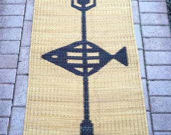 Vintage Costal Salish Native American Fishing Warrior Handwoven Grass Mat, Wall Hanging, Work Of Art