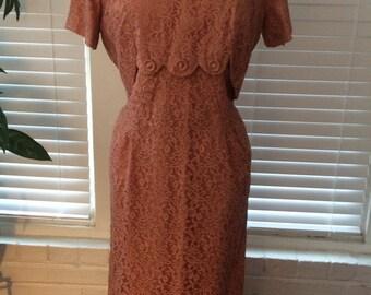 1950s Grace Taylor Original Dusty Rose Lace Evening Wiggle Dress
