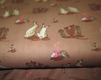 Brown background in pattern cotton fabric cotton fabric Bunny sold in half yard