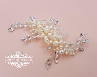 Pearl headpiece, pearl comb, ivory headpiece, bridal headpiece, pearl hair comb, wedding pearl, pearl hair slide, wedding headpiece