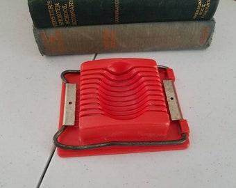 Red Acme Egg Slicer Vintage Kitchen Gadget