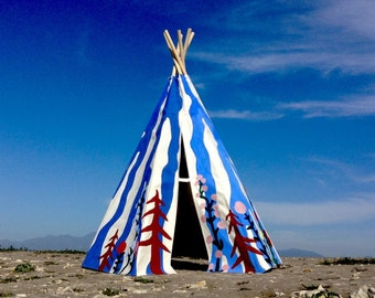 Colorful, Hand Painted, Floral Striped Tipi/ children's teepee