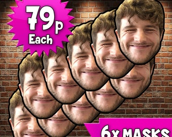 Celebrity costume etsy 6 x super thick personalised your custom photo party novelty fancy dress face masks solutioingenieria Image collections
