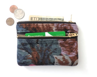 Coin Purse Wallet Double Zipper Pouch Botanical