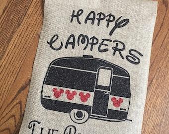 Disney Camping Garden Flag, Disney Decor, Happy Campers, Personalized Garden Flag, Disney Flag, Camping Decor, Garden Flag, Disney Campers