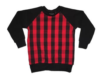 Red Buffalo Plaid Raglan - Baby Sweatshirt, Toddler Sweatshirt, Baby T-shirt, Baby Shirt, Toddler Shirt, Toddler T-shirt, Christmas Baby