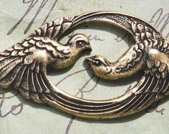 Double Bird Brass Stamping, Brass Ox, Neo Victorian, Brass Stampings made in the USA, Jewelry Making and Crafting