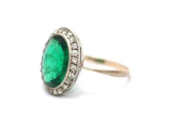 Edwardian Simulated Emerald and Diamond Ring May Birthstone