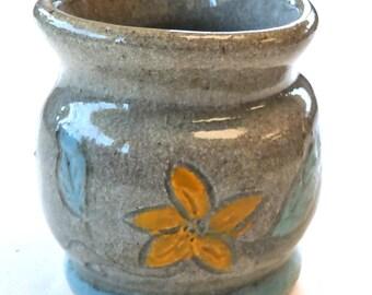 Ceramic vase hand thrown painted stoneware pottery floral deCoux AZ art pot