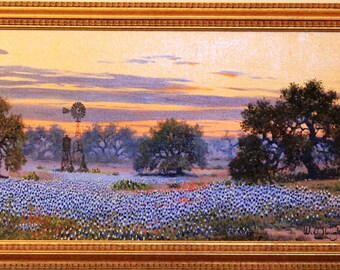 BlueBonnets Spring W.A. Slaughter Original Painting, Signed, Oil On Canvas, Framed: 15x27 Texas Bluebonnets