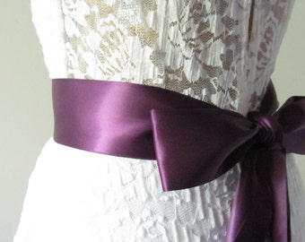 Aubergine Ribbon Sash / Double Faced Ribbon Sash / Bridal Sash  /Bridal  / Aubergine