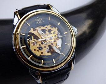 Luxury Mechanical Wrist Watch, Black Leather Wristband - Automatic - Men's Watch - Groomsmen Gift - Black & Gold Watch, Item MWA100a