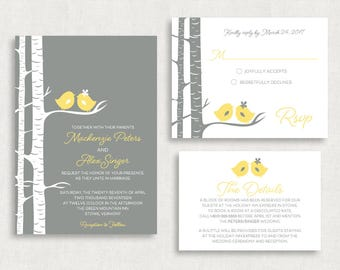 Wedding Invitation and RSVP Card (For the Birds) - Customizable Invitation, Love Birds Wedding Invitation, Tree Wedding Invitation, DIY