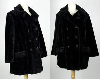 Fake fur winter coat, black faux fur pea coat, Davis of Boston, division of Jonathan Logan, Large