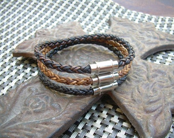 Braided Leather Bracelet, Mens Leather Bracelet, Magnetic Clasp, Leather Bracelet, Mens Bracelet, Mens Gift, Mens Jewelry, Groomsmen,