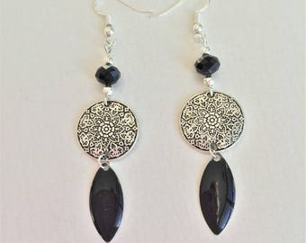earrings, silver and black