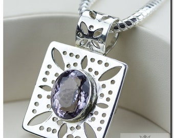 37 Carats AMETHYST Vintage Setting Italian Made 925 SOLID Sterling Silver Pendant + 4mm Snake Chain & FREE Worldwide Shipping p81